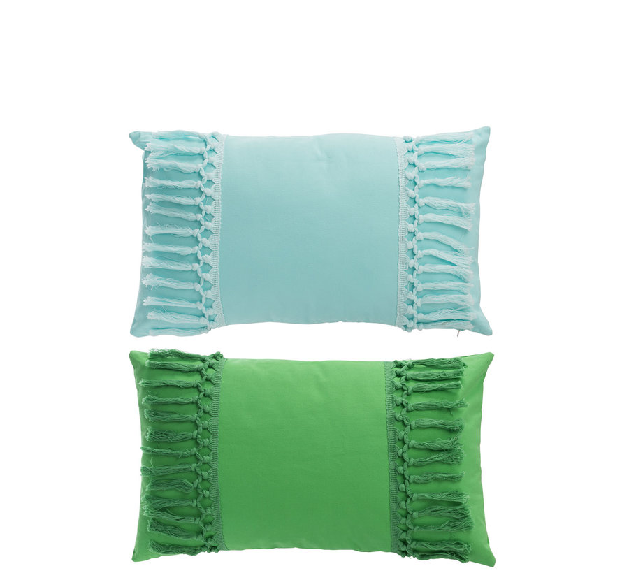 Kussen Polyester Rechthoek Kwastjes Groen - Blauw