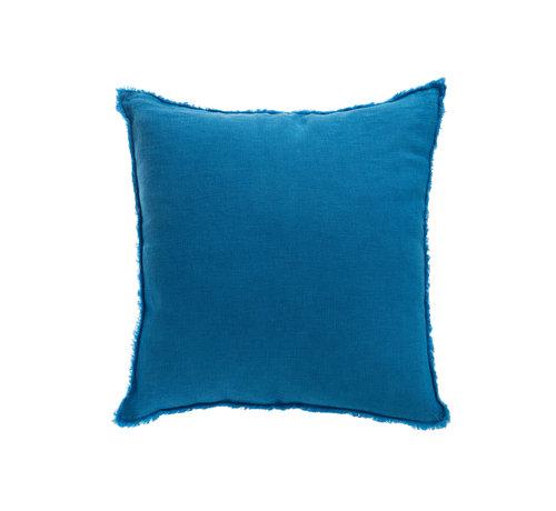 J -Line Cushion Linen Square Stonewashed - Blue