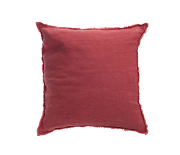 J -Line Cushion Linen Square Stonewashed - Raspberry