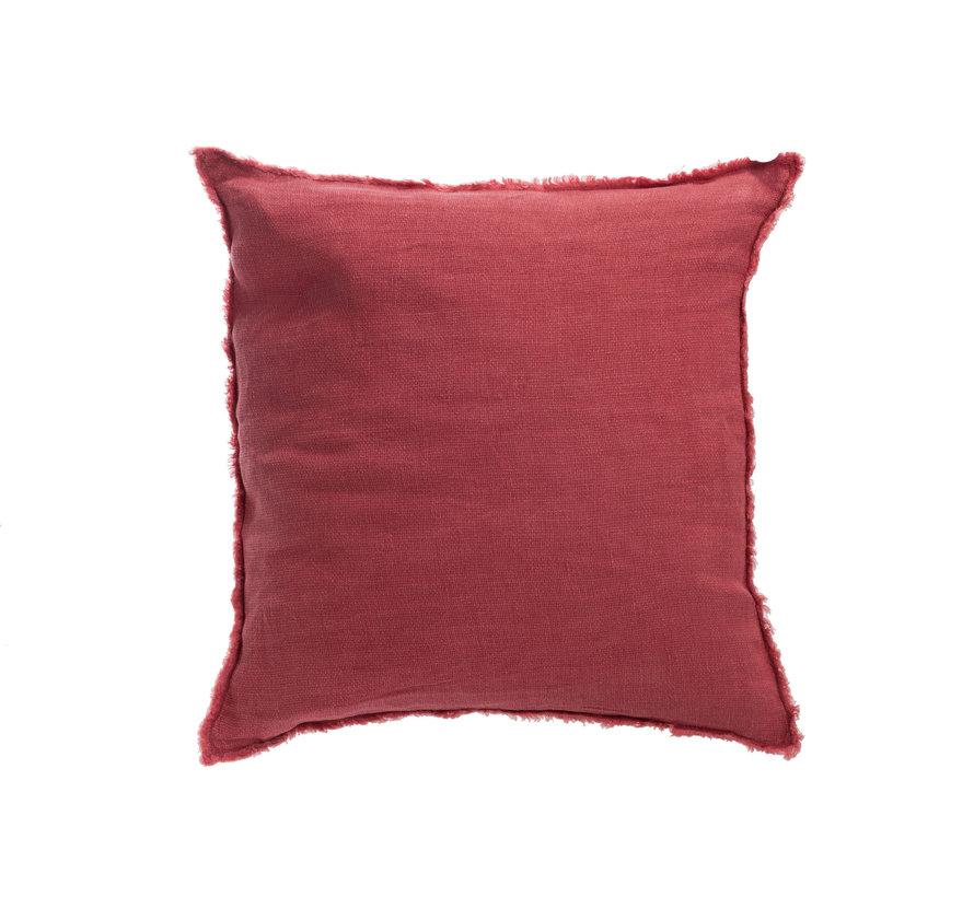 Cushion Linen Square Stonewashed - Raspberry