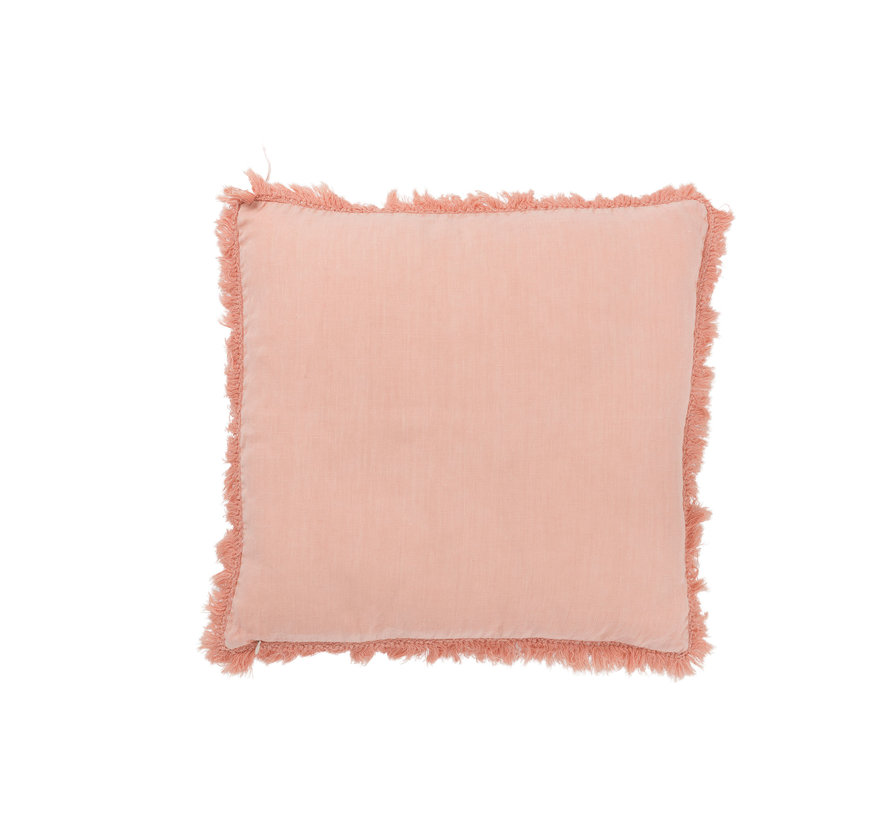 Cushion Linen Square Fringes - Pink