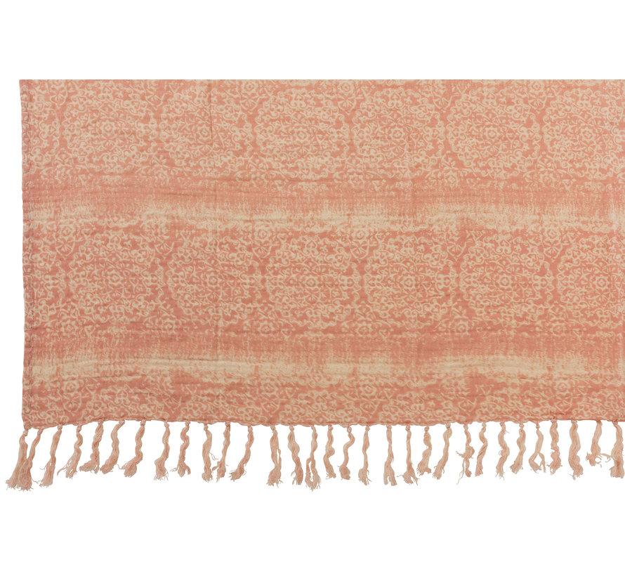 Plaid Cotton Oriental tassels - Pink