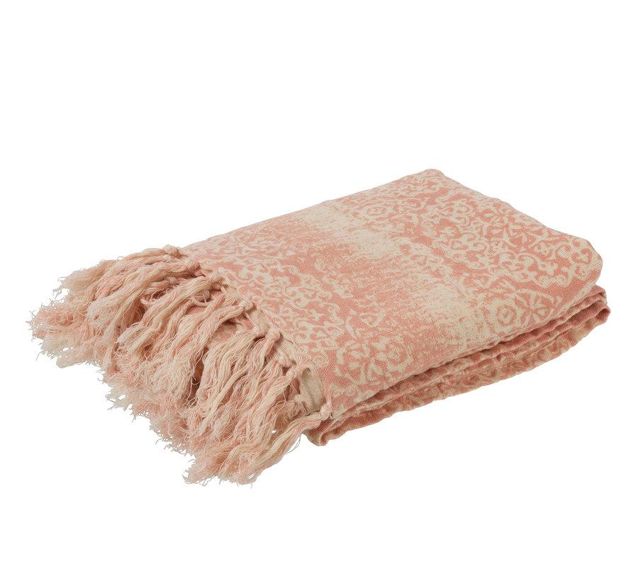 Plaid katoen Oosters kwastjes - Roze