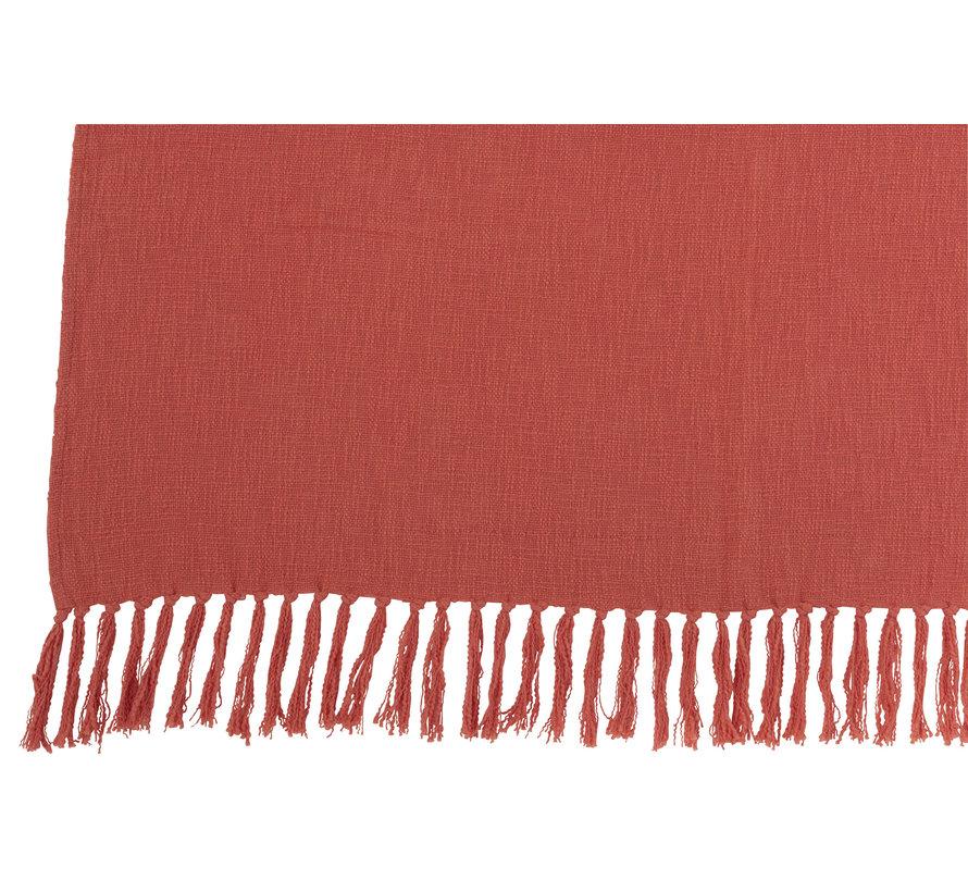 Plaid Cotton Crochet Tassels - Pink