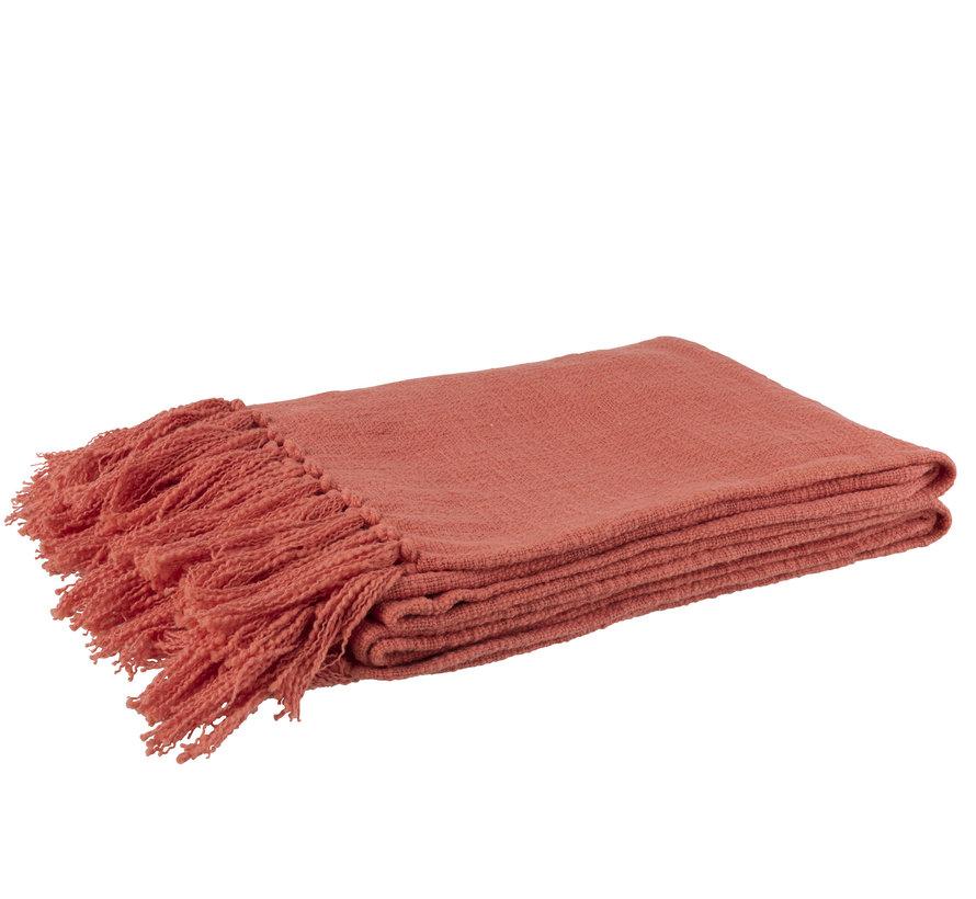 Plaid Katoen Gehaakt Kwastjes - Roze
