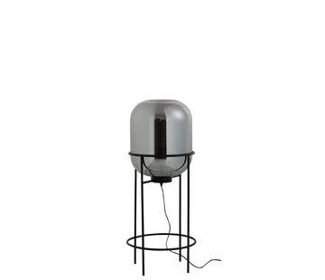 J -Line Floor Lamp Modern Glass Metal Silver Black - Medium