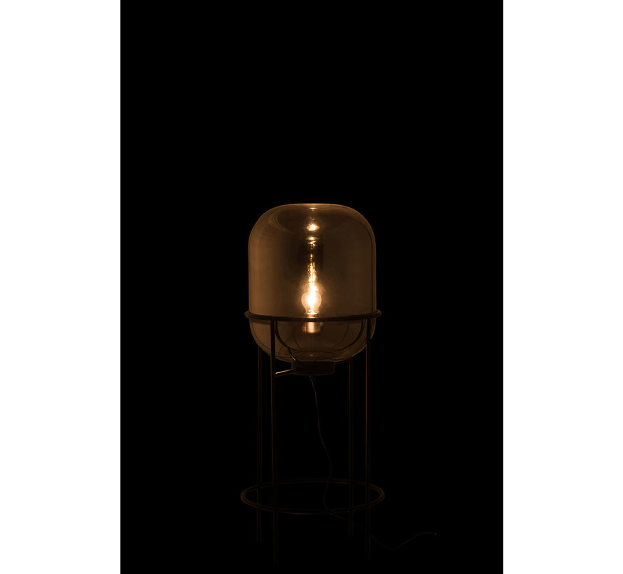 Floor Lamp Modern Glass Metal Silver Black - Medium