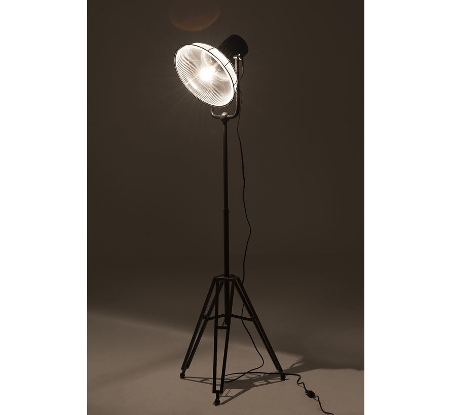 Floor Lamp industrial Glass Metal - Black