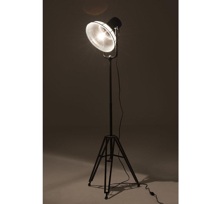 Staande Lamp industrieel Glas Metaal - Zwart