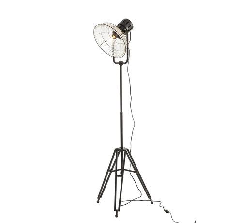 J -Line Staande Lamp industrieel Glas Metaal - Zwart