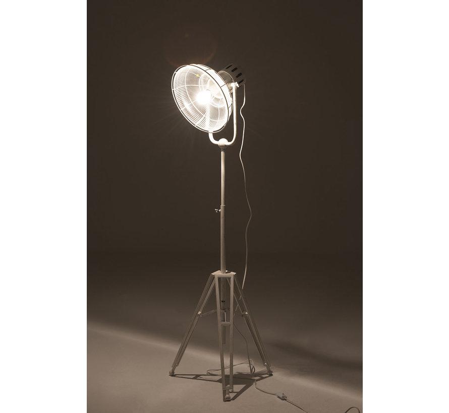 Floor Lamp industrial Glass Metal - White