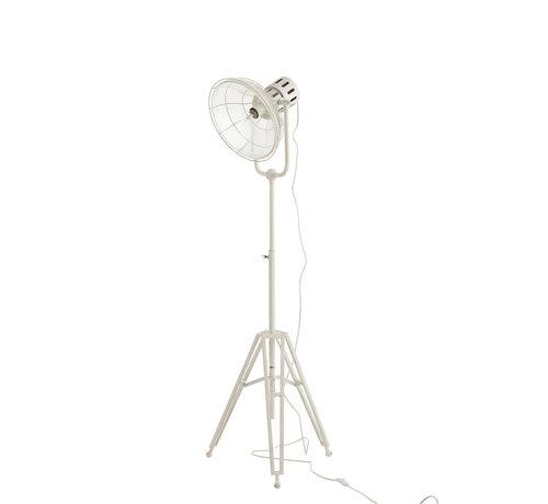 J-Line  Floor Lamp industrial Glass Metal - White