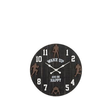 J -Line Wall Clock Round Wood Baseball Black Brown - White