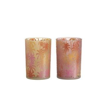 J-Line Theelichthouder Glas Palmboom Oranje Roze - Large