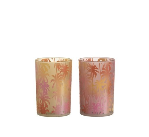 J-Line Tealight holder Glass Palm Tree Orange Pink - Large