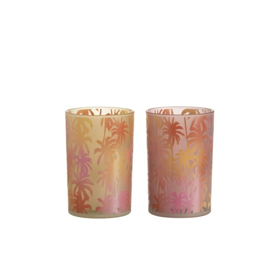 Theelichthouder Glas Palmboom Oranje Roze - Large