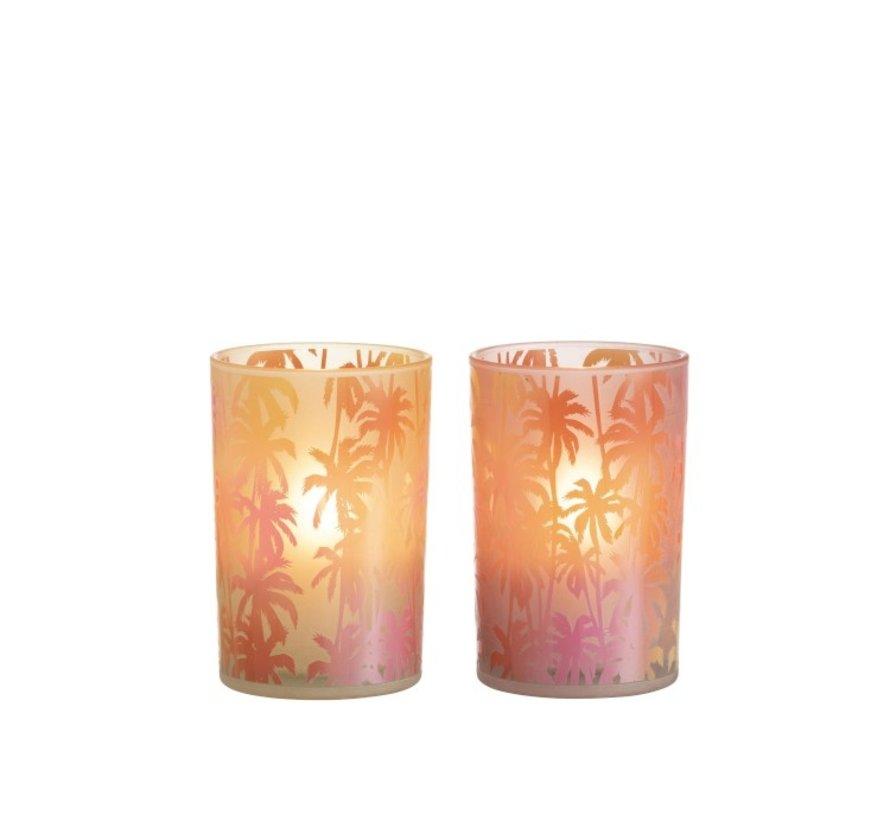 Tealight holder Glass Palm Tree Orange Pink - Large