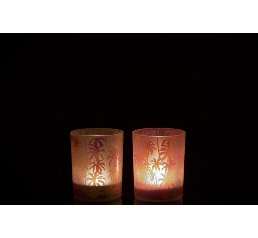 Tea Light Holder Glass Palm Tree Orange Pink - Medium