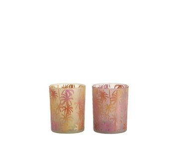 J-Line Tea Light Holder Glass Palm Tree Orange Pink - Medium