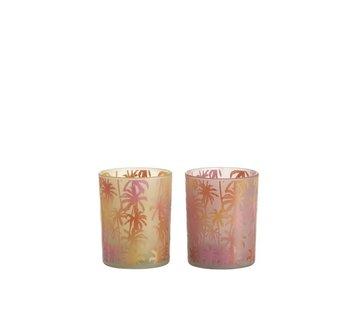 J-Line Theelichthouder Glas Palmboom Oranje Roze - Medium