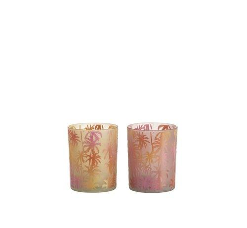 J -Line Tea Light Holder Glass Palm Tree Orange Pink - Medium