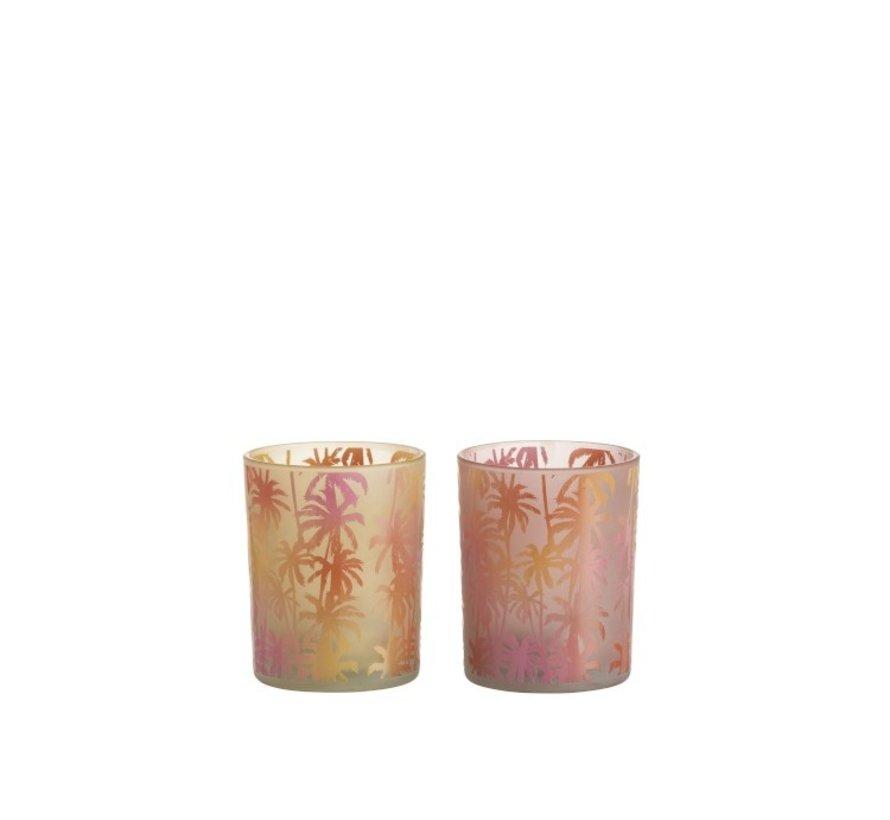 Theelichthouder Glas Palmboom Oranje Roze - Medium