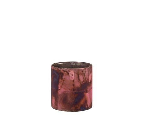 J -Line Theelichthouder Glas Bordeaux Blauw  - Small