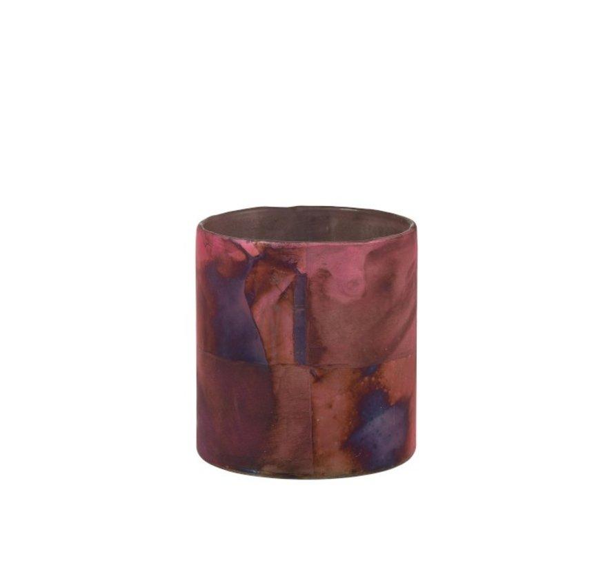 Theelichthouder Glas Bordeaux Blauw  - Medium