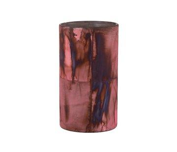 J -Line Tealight holder Glass Bordeaux Blue - Large