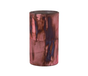 J -Line Theelichthouder Glas Bordeaux Blauw  - Large