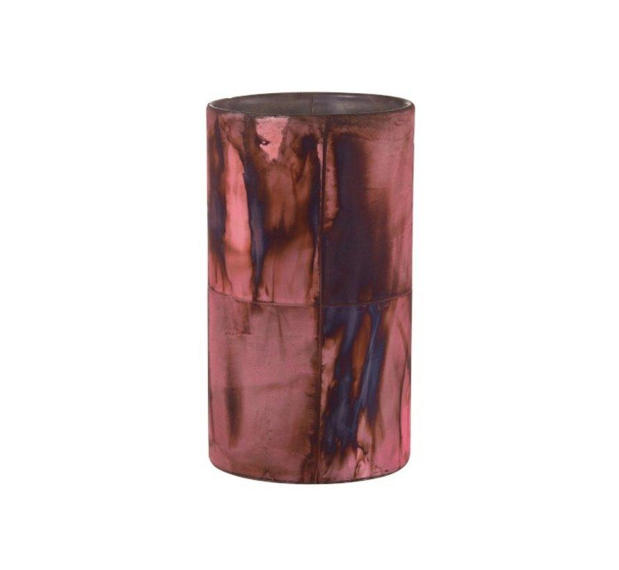 Theelichthouder Glas Bordeaux Blauw  - Large
