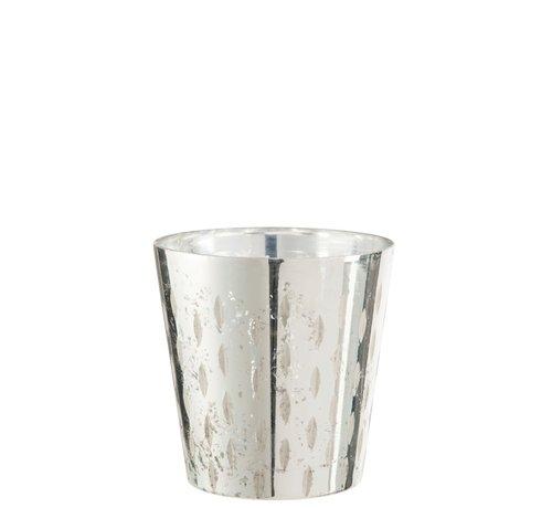 J -Line Theelichthouder Glas Streep Zilver - Small