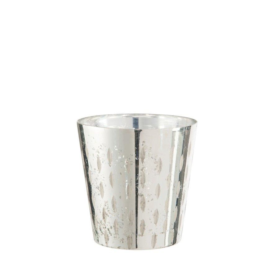 Theelichthouder Glas Streep Zilver - Small
