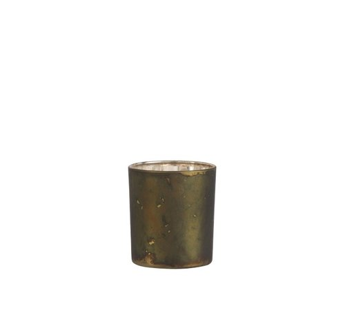 J -Line Tea Light Holder Glass Antique Mix Khaki - Small
