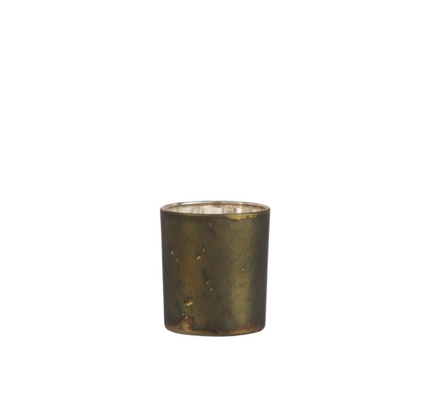 Tea Light Holder Glass Antique Mix Khaki - Small
