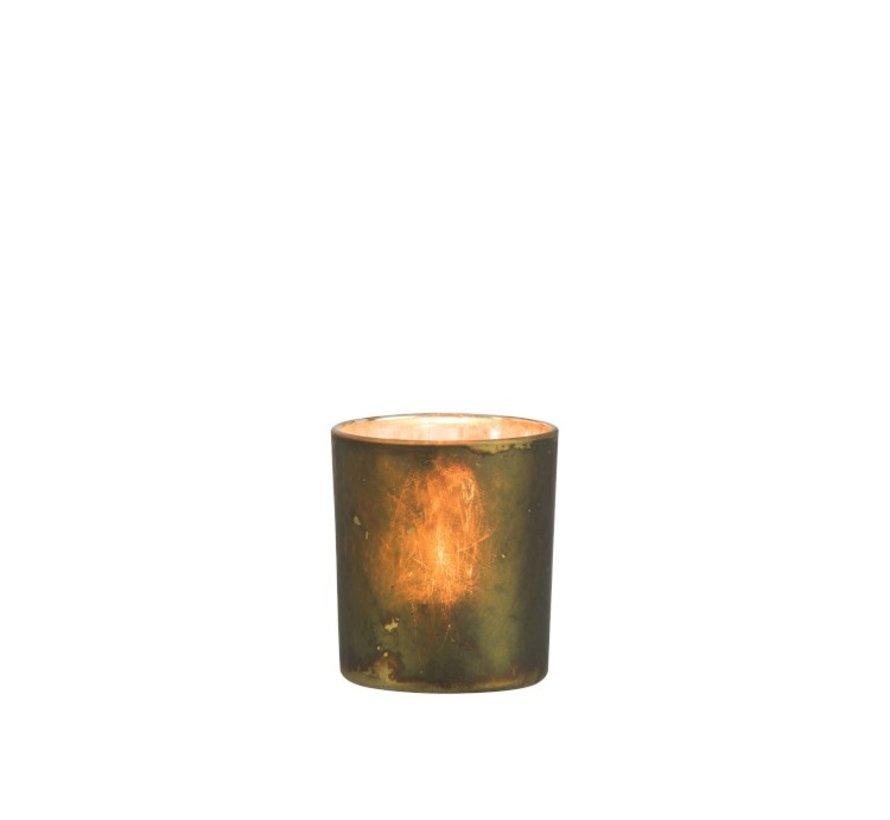 Theelichthouder Glas Antiek Mix Kaki - Small