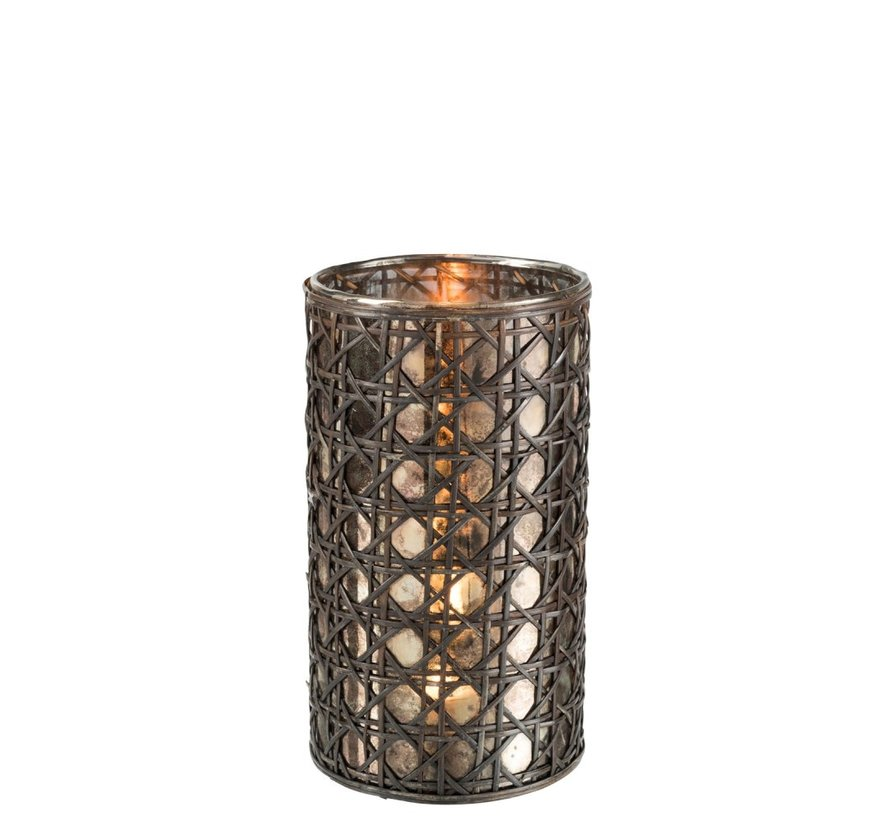 Tealight holder Glass Reed Brown - Large