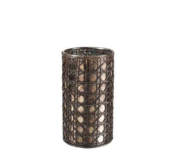 J -Line Tealight holder Glass Reed Brown - Large