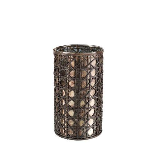 J-Line  Tealight holder Glass Reed Brown - Large