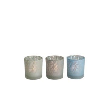 J-Line  Tealight Holder Glass Rectangle Gray Blue - Small