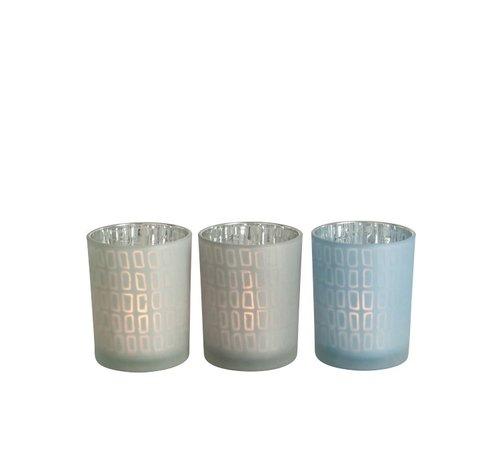 J -Line Theelichthouder Glas Rechthoek Grijs Blauw - Medium