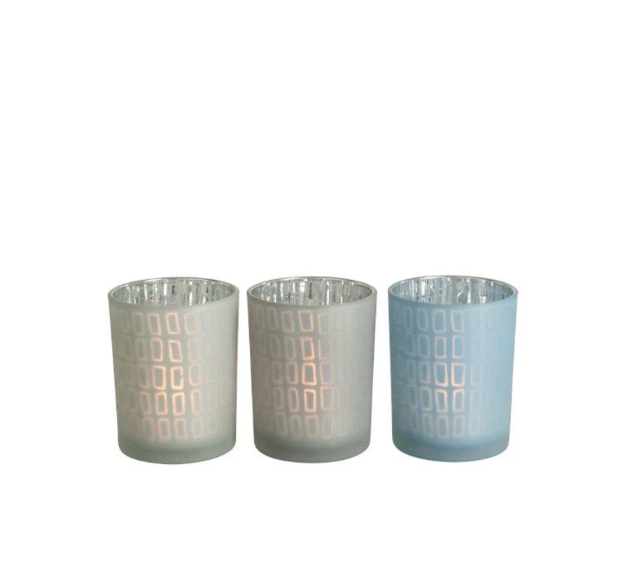 Theelichthouder Glas Rechthoek Grijs Blauw - Medium