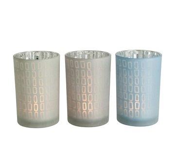 J-Line  Tealight Holder Glass Rectangle Gray Blue - Large