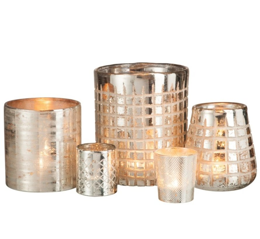 Tea Light Holder Glass Grids Silver - Medium