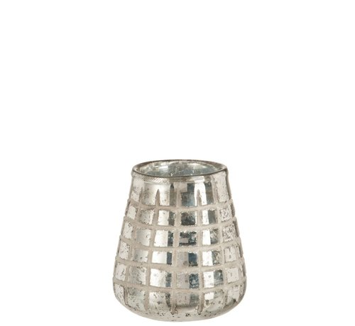 J -Line Tea Light Holder Glass Grids Silver - Medium