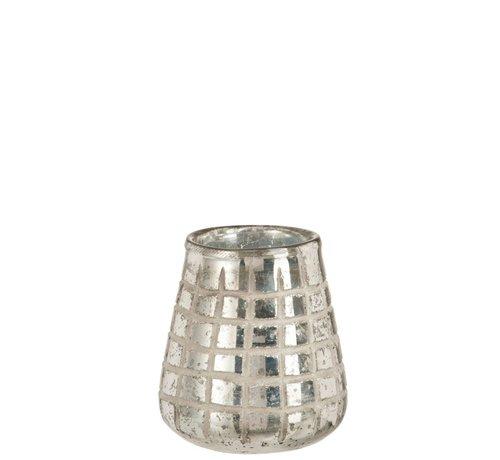 J -Line Theelichthouder Glas Rasters Zilver - Medium