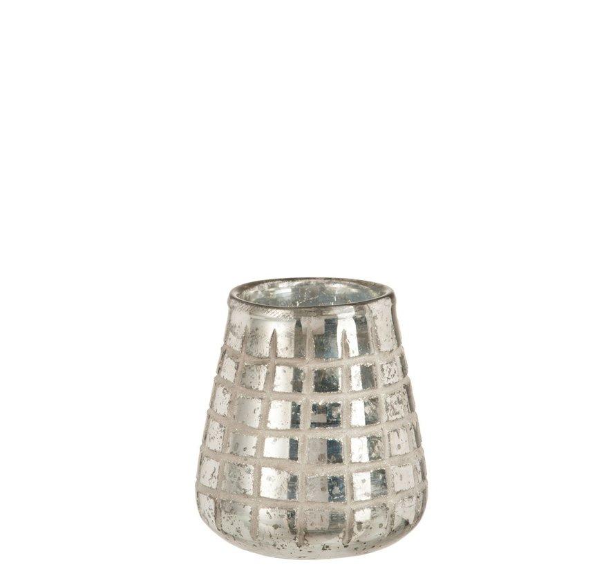 Theelichthouder Glas Rasters Zilver - Medium
