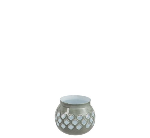 J -Line Tealight holder Perforated Iron Gray White - Small