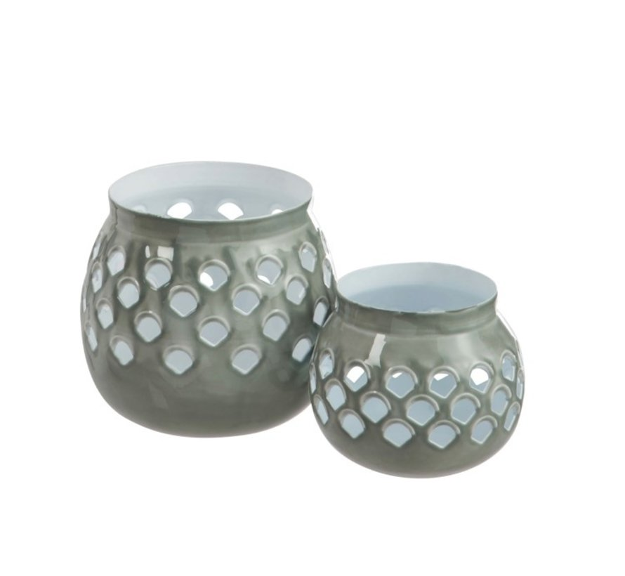 Tealight holder Perforated Iron Gray White - Small