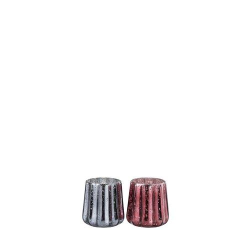 J -Line Tealight Holder Glass Ribbed Gray Red - Medium